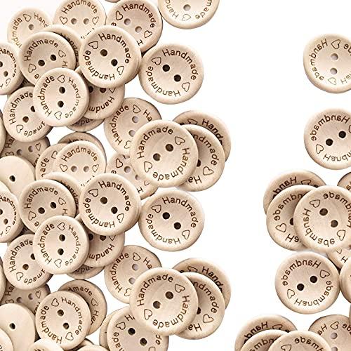 Knöpfe Holz, 100 StückHandgefertigte Holzknöpfe mit 2 Löchern, zum...