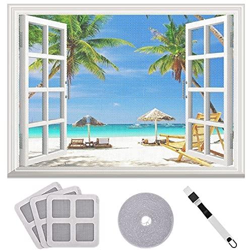 Queta Moskitonetz für Fenster Transparent Weiß Feinmaschiges...