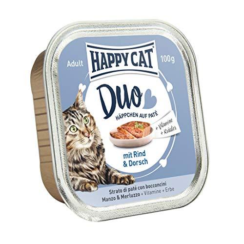 Happy Cat Pate auf Häppchen Rind & Dorsch, 12er Pack (12 x 100 g)