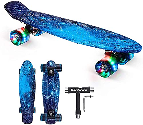 SGODDE Skateboard Komplette 56cm/22 Mini Cruiser Board Retro...