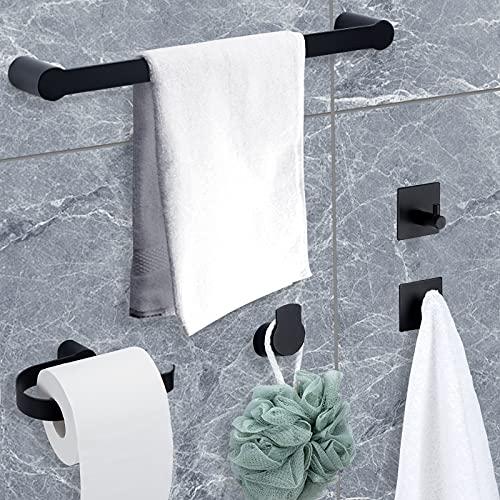 Temgin Handtuchhalter 5-Stuck Badezimmer Zubehör Set Schwarz Matt...
