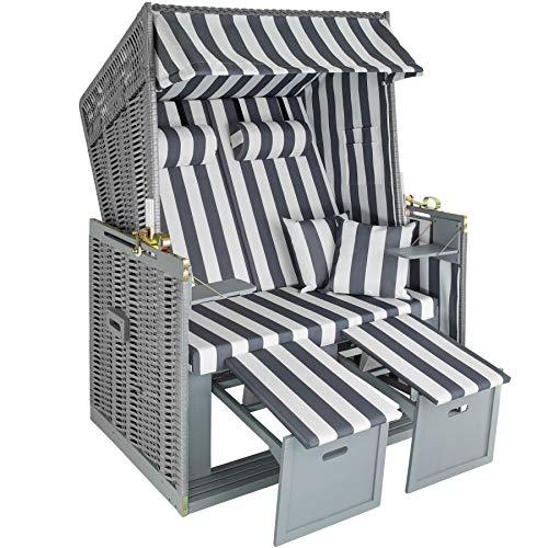 tectake 800805 Strandkorb Ostsee 2-Sitzer, 4-Fach verstellbare...