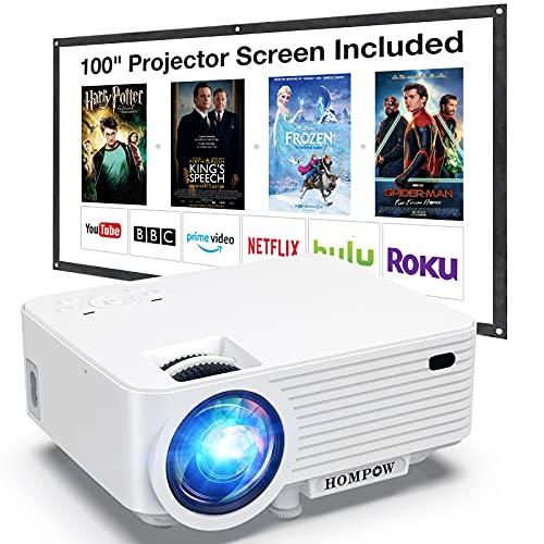 HOMPOW Mini Beamer, Tragbarer Video Beamer mit 6000 Lumen, Full HD...