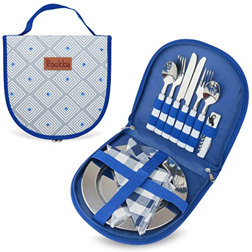 Camping Besteck-Set mit Tasche, 11-teiliges Camping-Set mit...