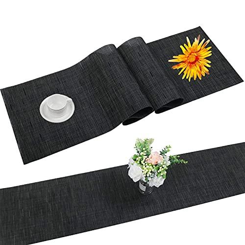 SHACOS Tischläufer Schwarz PVC Tischläufer Abwaschbar...