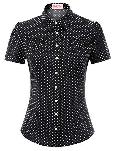 Belle Poque Damen Vintage Retro Casual Tops schwarz Polka dots Sommer...
