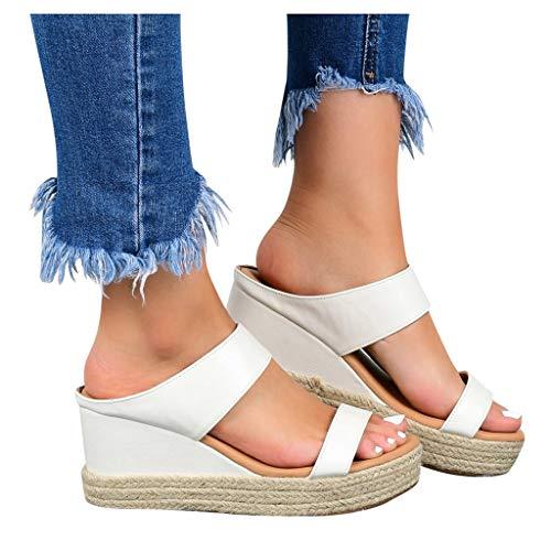 SUNNSEAN Damen Sandalen, Casual Damen Sommer Wedge Peep Toe High Heel...