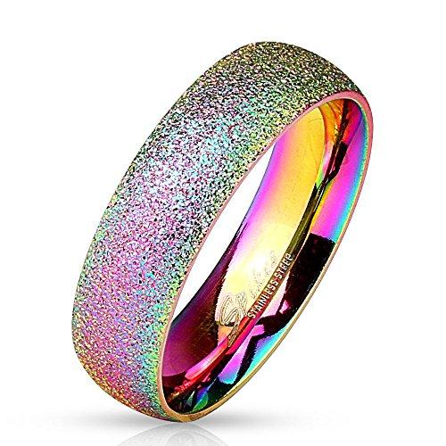 Bungsa® 54 (17.2) Regenbogen Ring sandgestrahlt Diamantoptik...