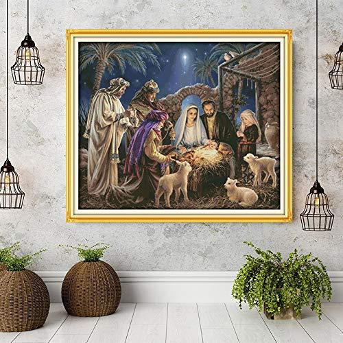 Die Geburt von Baby-Jesu-Mustern, Leinwand Kreuzstich-Kits,...