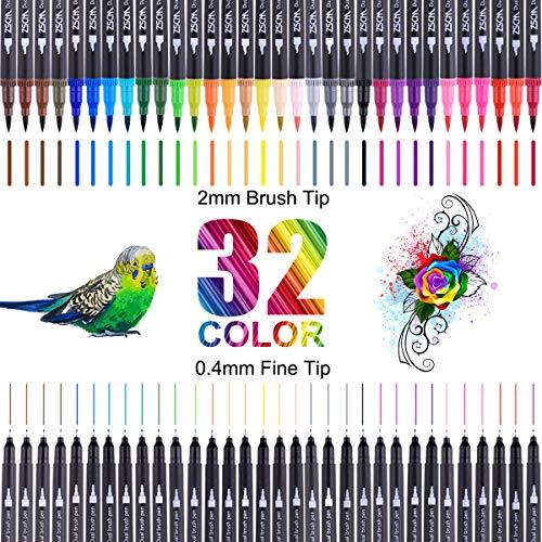 Dual Brush Pen Set,Brush Pen Set Pinselstifte, 32 Aquarell Farben...
