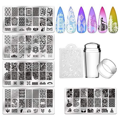 Biutee 5 pcs maniküre Stempelschablonen Nail Art Plates Stamping...