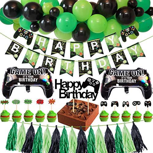 Tacobear Spiel Party Deko Videospiel Party Zubehör Set mit Happy...