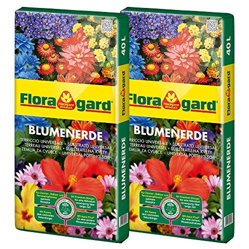 Floragard Blumenerde 2x40 L • Universalerde • für Balkon-,...
