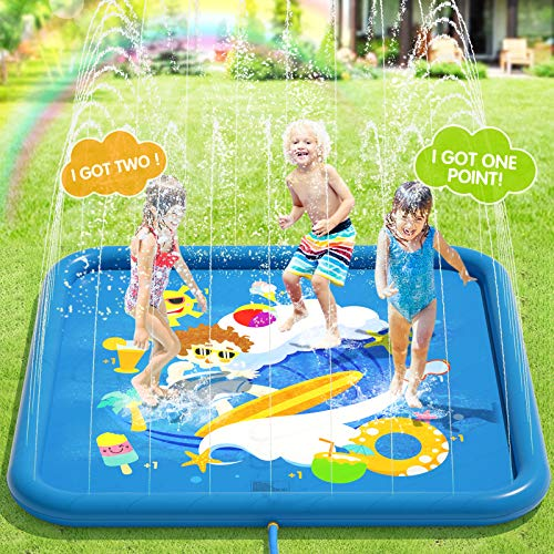 Peradix Splash Pad,170CM Sprinkler Wasser-Spielmatte Anti-Rutsch...