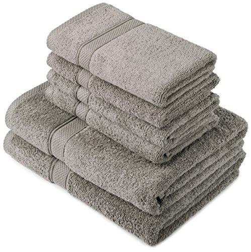 Pinzon by Amazon Handtuchset aus Baumwolle, grau, 2 Bade- und 4...
