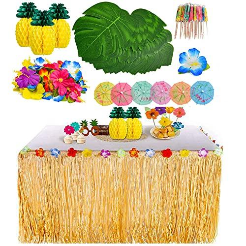 YQing 119 Stück Hawaii Luau Tischröcke Set, Hawaiian Hibiscus Gras...