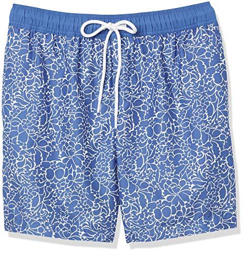 Amazon Essentials Herren Badehose, Blau(Marineblau mit Blumenmuster),...