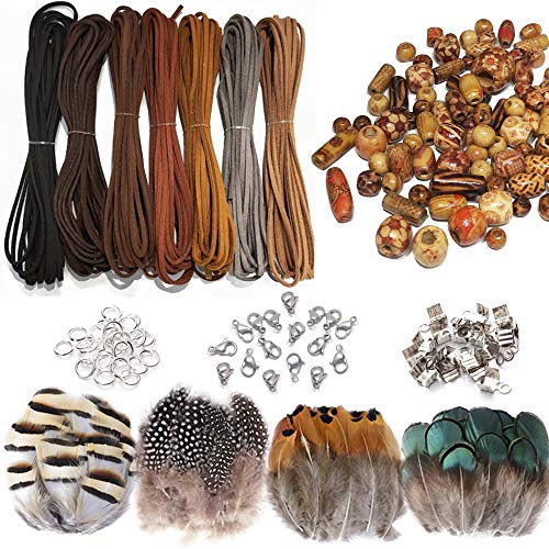 Zasiene 437 Stück Set Lederbänder für Armbänder Lederband Perlen...