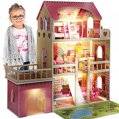 Kinderplay Puppenhaus Holz Gross, Puppenvilla, Puppenhaus Holz Groß...
