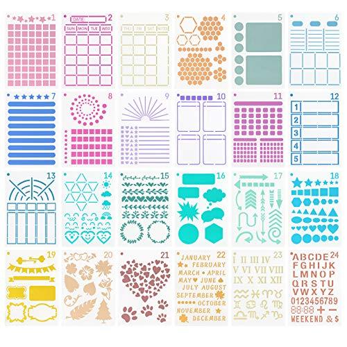24 Stück Journal Zubehör Schablonen Set, Plastic Journaling Planner...