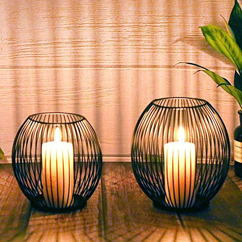Kerzenständer 2er Set, Kerzenhalter Schwarz Oval Metall...