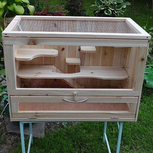 Melko Kleintierkäfig aus Holz, 60 x 35 x 42 cm, inklusive klappbarer...