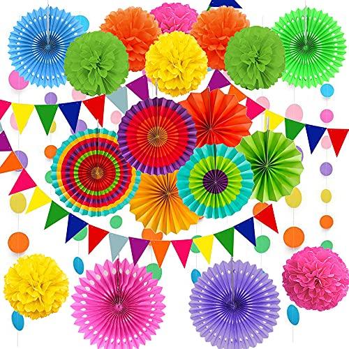 Cojoy 21 Stück Party Dekorationsset, hängende Papier fächer,...