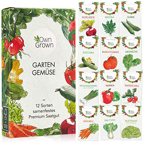 Gemüse Samen Set von OwnGrown, 12 Sorten Premium Gemüse Saatgut,...