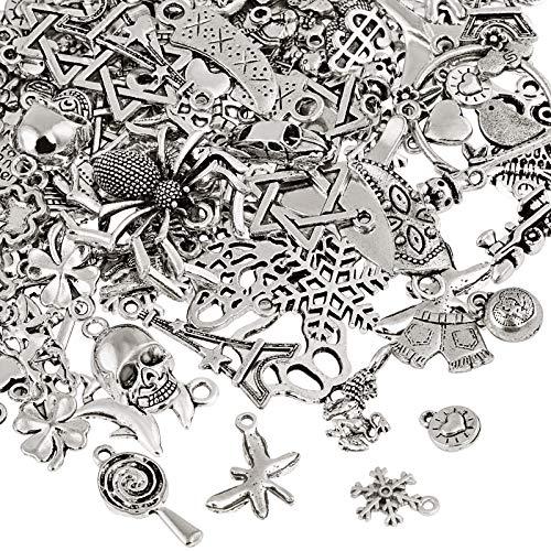 Naler 120 x Charms Anhänger Retro Antik Silber Mischung für Schmuck...