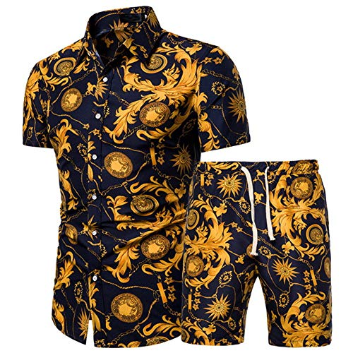 ZYUD Herren Blumen Kurzarm Hawaii Hemd Shorts Set Herren Freizeitanzug...