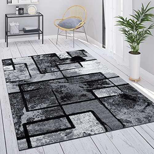 Paco Home Teppich Grau Wohnzimmer Vintage Kurzflor Geometrisch...