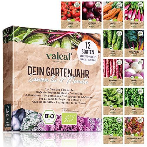 valeaf BIO Gartenjahr Samen Set I Gemüsesamen das ganze Jahr I 12...
