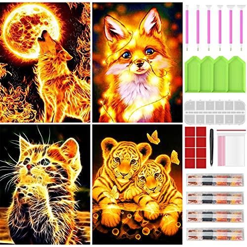 Diamond Painting Set, BOTOCO 4er Tiere Diamond Painting Katze Tiger...