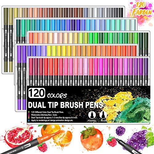 BOIROS 120 Farbe Filzstifte, Dual Brush Pen Set für Bullet Journal...