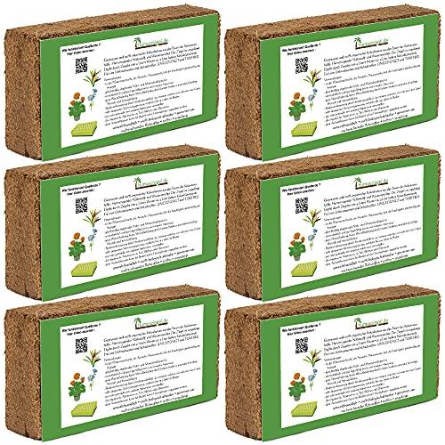 Humusziegel - 50 L Kokoserde - 6 x 650g - Blumenerde aus Kokosfaser -...