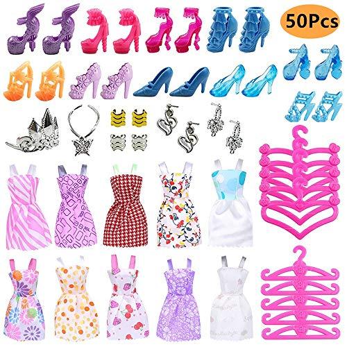 50PCS Kleidung Schuhe Zubehör Bundle für Barbie Doll mit 10 Mode...