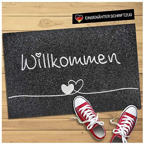 WELLMODA® Fussmatte I + inkl. genähtem Schriftzug Willkommen I 40x60...