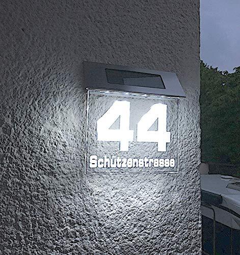 Beleuchtete LED Solar Hausnummer, Hausnummernleuchte individuell...