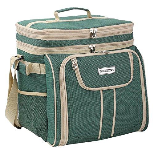 anndora Picknicktasche grün beige Kühltasche inkl. Zubehör 4...