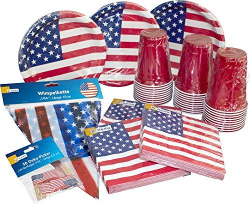HEKU Einweg-Party-Set 'USA' mit Tellern, 'Red-Cup'-Bechern,...