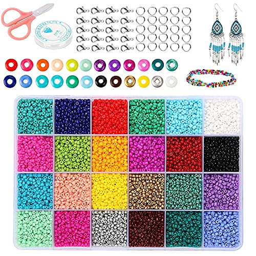 ASANMU Mini Glasperlen, 24 Farben Perlen Zum Auffädeln Kinder, DIY...