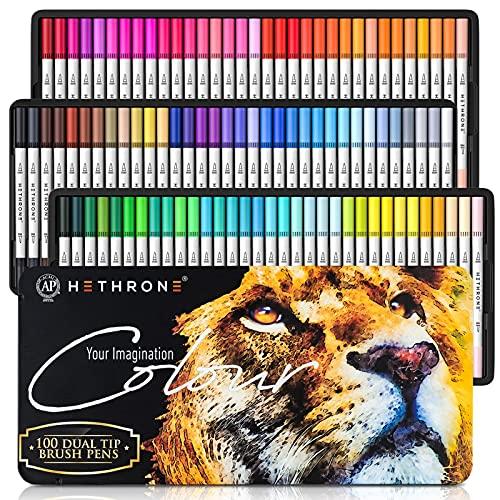 Hethrone Dual Brush Pen Set 100 Farben Pinselstifte Filzstifte Bullet...