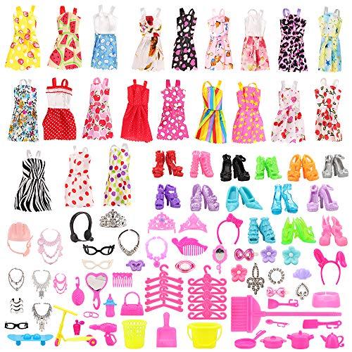 Miunana 120 Kleidung Zubehör für Puppen= 15 Kleidung Kleider + 105...